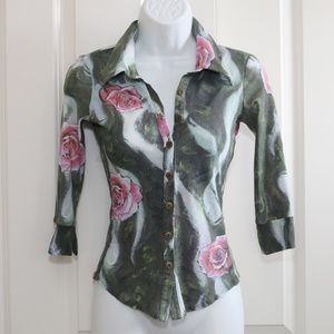 Bebe Blouse Top Button Down Roses Size XS